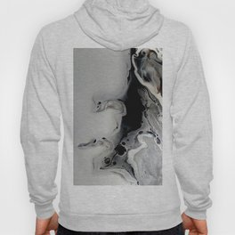 Black and Silver Fluid Macro Close-up Painting Hoody