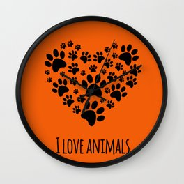I love animals template Wall Clock