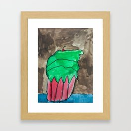 Sweet Cupcake Confections Green Frosting With Red Cherry Watercolor Framed Art Print