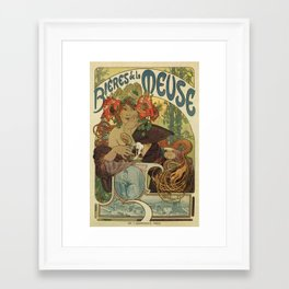 Alfons Mucha art nouveau beer ad Framed Art Print