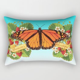 Monarch Butterfly with Strawberries on Aqua Rectangular Pillow