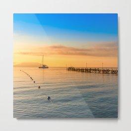 minimalist seascape with rocks & ship Metal Print