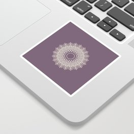 Mandala in Mulberry and White Sticker