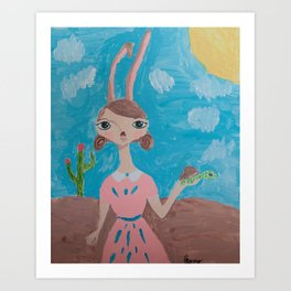~ Tortoise and Hare ~ 10 Year Old Amelia's Arizona Critter Girl Art Print