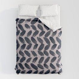 Lake Davinde -  Dark Blue Brush Strokes on lilac Comforters