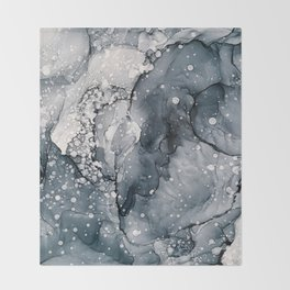 Icy Payne's Grey Abstract Bubble / Snow Painting Throw Blanket