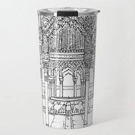 Alhambra palace, Granada, Andalucia - Spain-Black & White Travel Mug