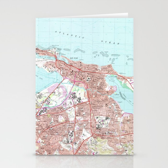 Vintage Map of San Juan Puerto Rico (1969) Stationery Cards by bravuramedia