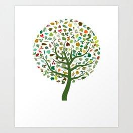 Autumn Leaves - Tree Hugger Design Art Print
