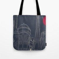 blueprint Tote Bags featuring Paris Blueprint by ralexandertrejo