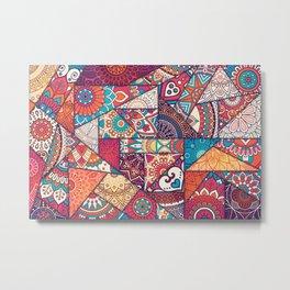 Hand drawn background. Islam, Arabic, Indian, ottoman motifs. Metal Print