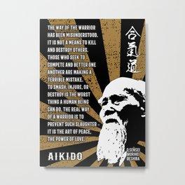 Morihei Ueshiba, Way of the warrior, Aikido Dojo Decor Metal Print