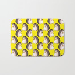 Hedgehog eating pizza Bath Mat