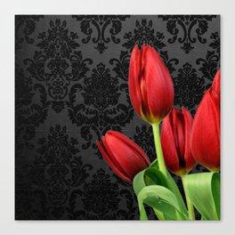 Red Tulip Flowers Black Vintage Damask Canvas Print