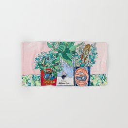 Jungle Botanical in Colorful Cans on Pink - Still Life Hand & Bath Towel