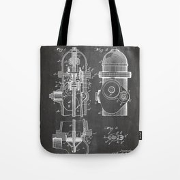 Fire Fighter Patent - Fire Hydrant Art - Black Chalkboard Tote Bag