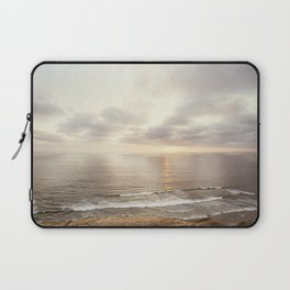 Neutral Sunset Pacific Ocean Photography, Brown Grey Seascape, California Coast Sea Landscape Laptop Sleeve