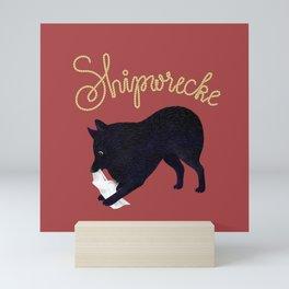 Shipwrecke (Red and Beige) Mini Art Print