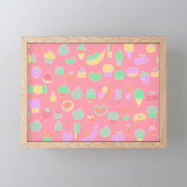 Sweet temptations, pink pastries, fruits and love Framed Mini Art Print