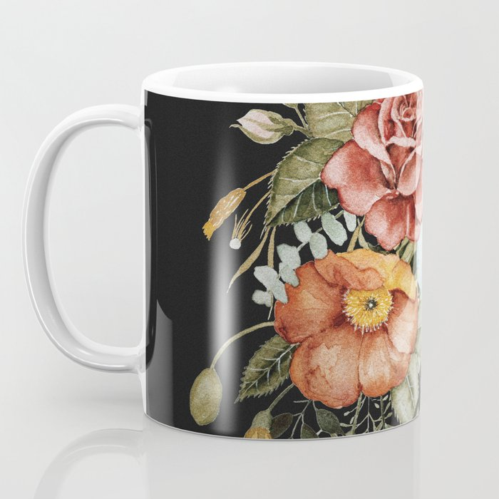Roses and Poppies Bouquet on Charcoal Black Kaffeebecher