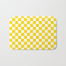 Small Checkered - White and Gold Yellow Bath Mat