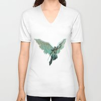 angel V-neck T-shirts featuring ANGEL by Illu-Pic-A.T.Art