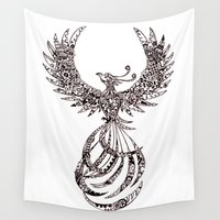 steam punk Wall Tapestries featuring Steam Punk Pheonix by Paviash