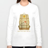 backpack Long Sleeve T-shirts featuring PACK AND GO by Je Suis un Lapin