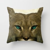 tom selleck Throw Pillows featuring Tom by Vin Zzep