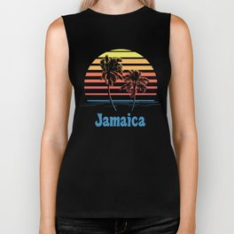 Jamaica Sunset Palm Trees Biker Tank