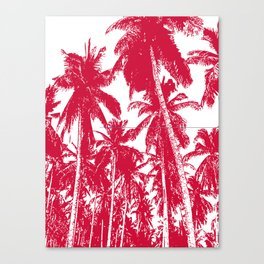Palm Trees Design in Red and White Canvas Print