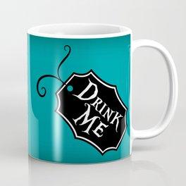 """Drink Me"" Alice in Wonderland styled Bottle Tag Design in 'Alice Blue' Coffee Mug"