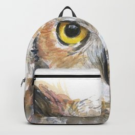 Owl Great Horned Owl Watercolor Backpack