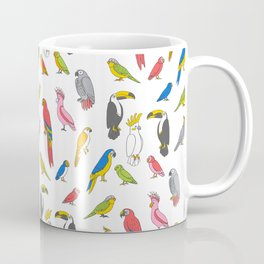 Tropical birds jungle animals parrots macaw toucan pattern Coffee Mug