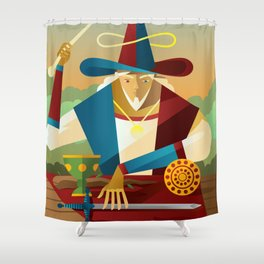 magician juggler with cup, wooden staff, sword and gold tarot card Shower Curtain
