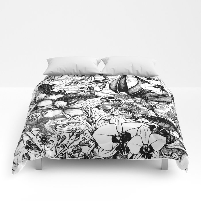 Black And White Tropical Flower Pattern Comforters By Lebensart
