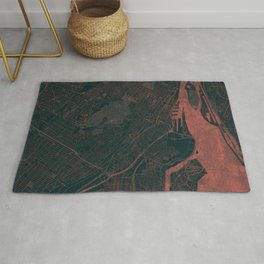 Montreal Map Red Rug