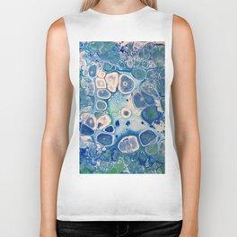 Blue Green Cells Fluid Pour Art Marble Swirls Stone Biker Tank