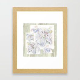 Lilies On Vintage Framed Art Print