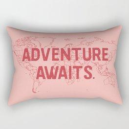 Adventure Awaits World Map - Pink & Red Rectangular Pillow