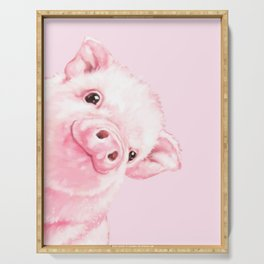 Sneaky Baby Pink Pig Serving Tray