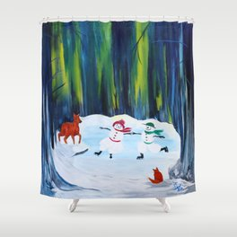 Christmas Night with dancing snowmen Shower Curtain