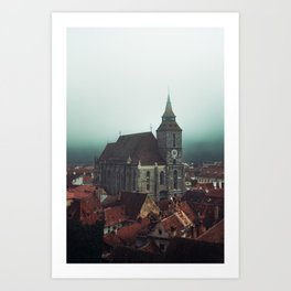 Black church in the fog Art Print