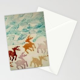Sprinting Deer and Galloping Horses Stationery Cards