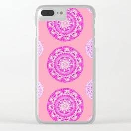 Salmon, Pink, and Purple Patterned Mandalas Clear iPhone Case