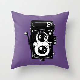 Big Vintage Camera Love - Black on Purple Background Throw Pillow