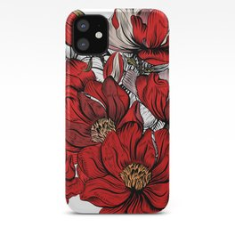 RED PEONIES PATTERN iPhone Case