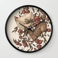 letters Wall Clocks featuring Coyote Love Letters by Jessica Roux