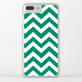 Spanish viridian - green color - Zigzag Chevron Pattern Clear iPhone Case