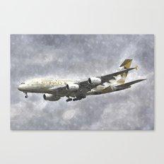 Etihad Airbus A380 Art Canvas Print